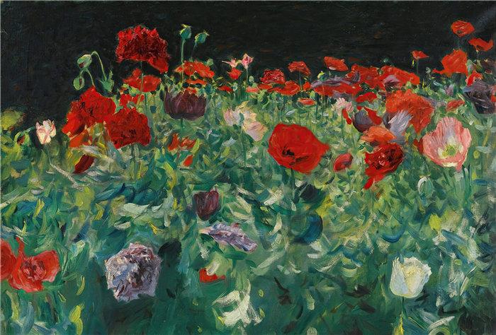 约翰·辛格·萨金特 (John Singer Sargent,美国画家)作品-罂粟花 (1886)