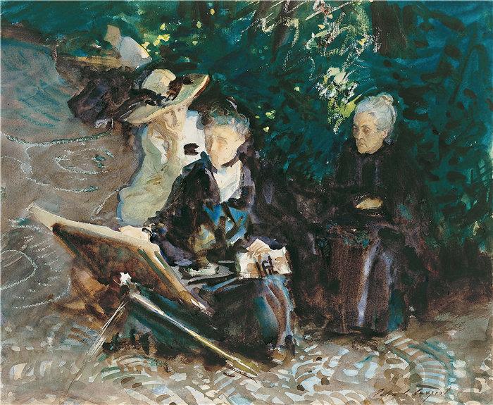 约翰·辛格·萨金特 (John Singer Sargent,美国画家)作品-在赫内拉利费 (1912)
