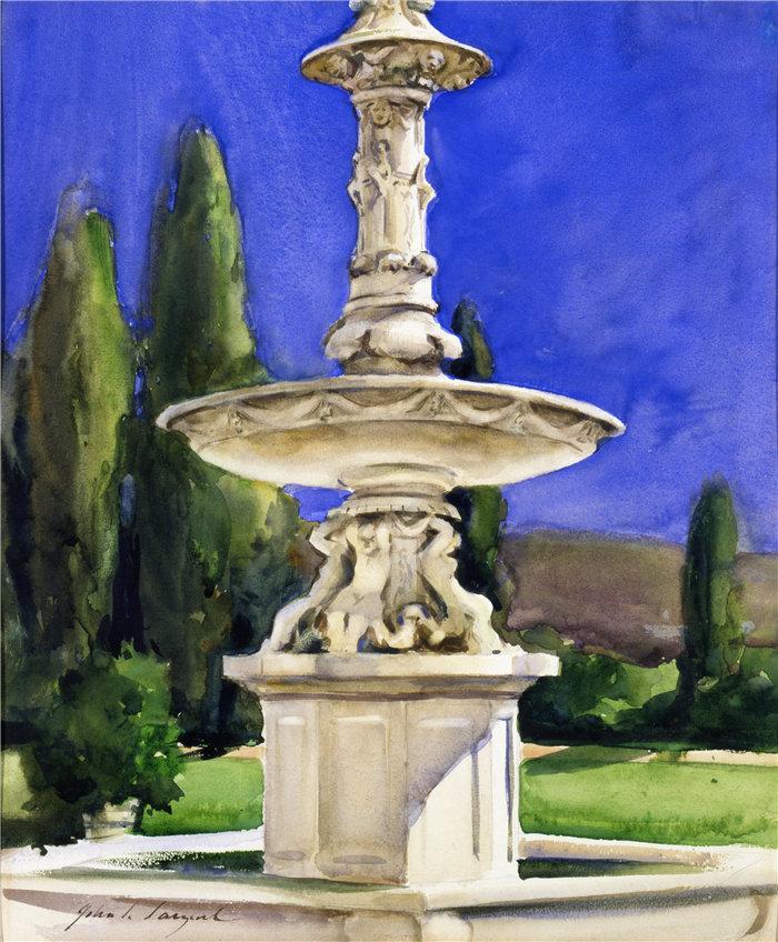 约翰·辛格·萨金特 (John Singer Sargent,美国画家)作品-意大利的大理石喷泉(约 1907 年)