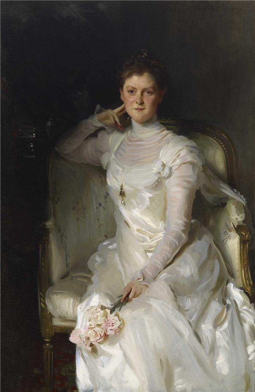 约翰·辛格·萨金特 (John Singer Sargent,美国画家)作品-约书亚·蒙哥马利·西尔斯夫人 (Sarah Choate Sears)