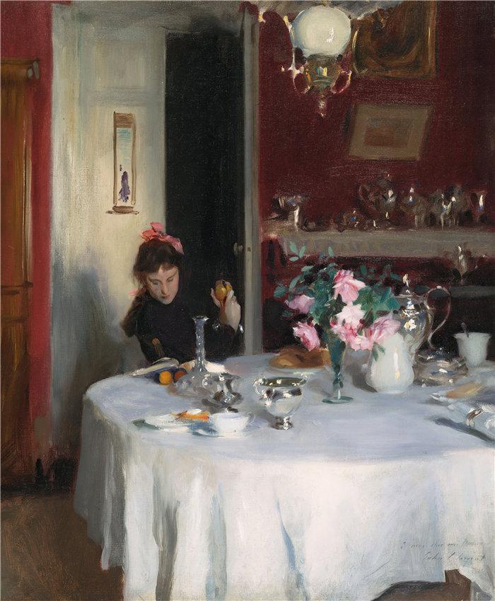 约翰·辛格·萨金特 (John Singer Sargent,美国画家)作品-早餐桌(1883-1884)