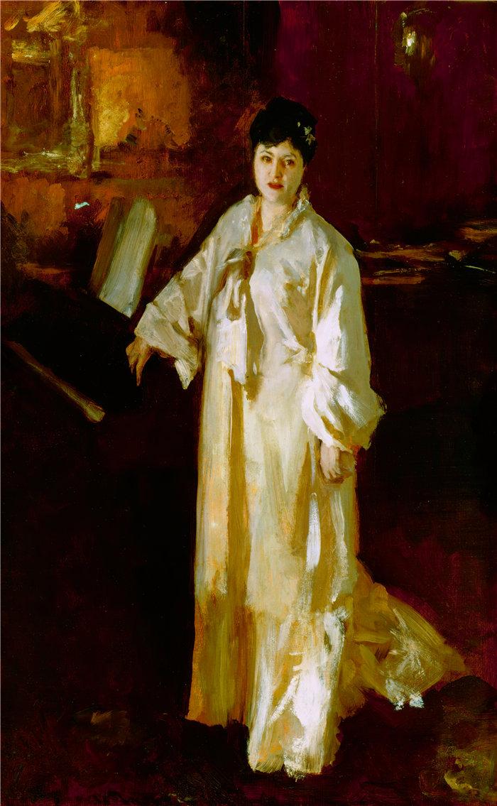 约翰·辛格·萨金特 (John Singer Sargent,美国画家)作品-朱迪思·戈蒂埃 (Judith Gautier)(约 1885 年)