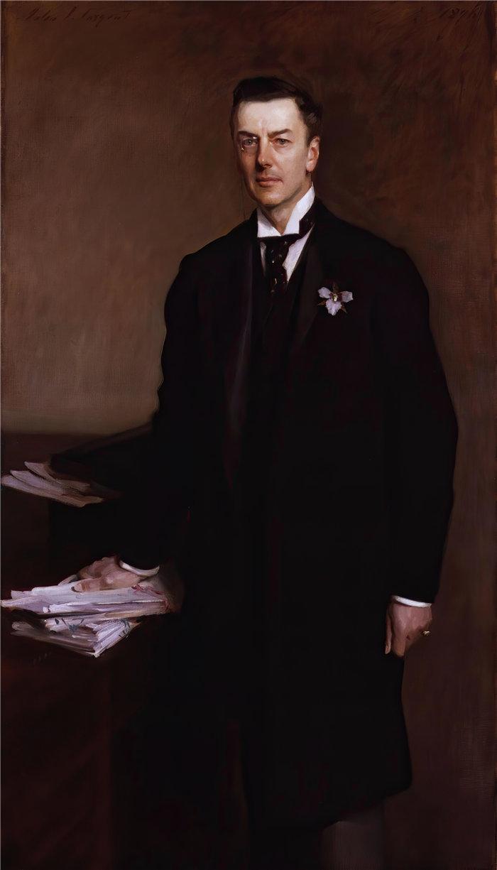 约翰·辛格·萨金特 (John Singer Sargent,美国画家)作品-约瑟夫 ('乔') 张伯伦 (1896)