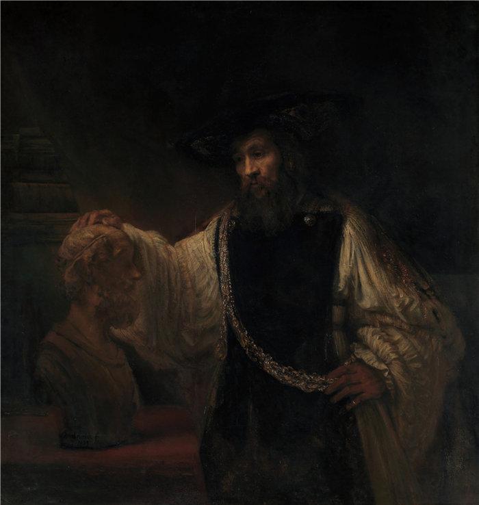 伦勃朗·范·瑞恩  (Rembrandt van Rijn,荷兰 ) 作品 - 亚里士多德与荷马半身像(1653 年)