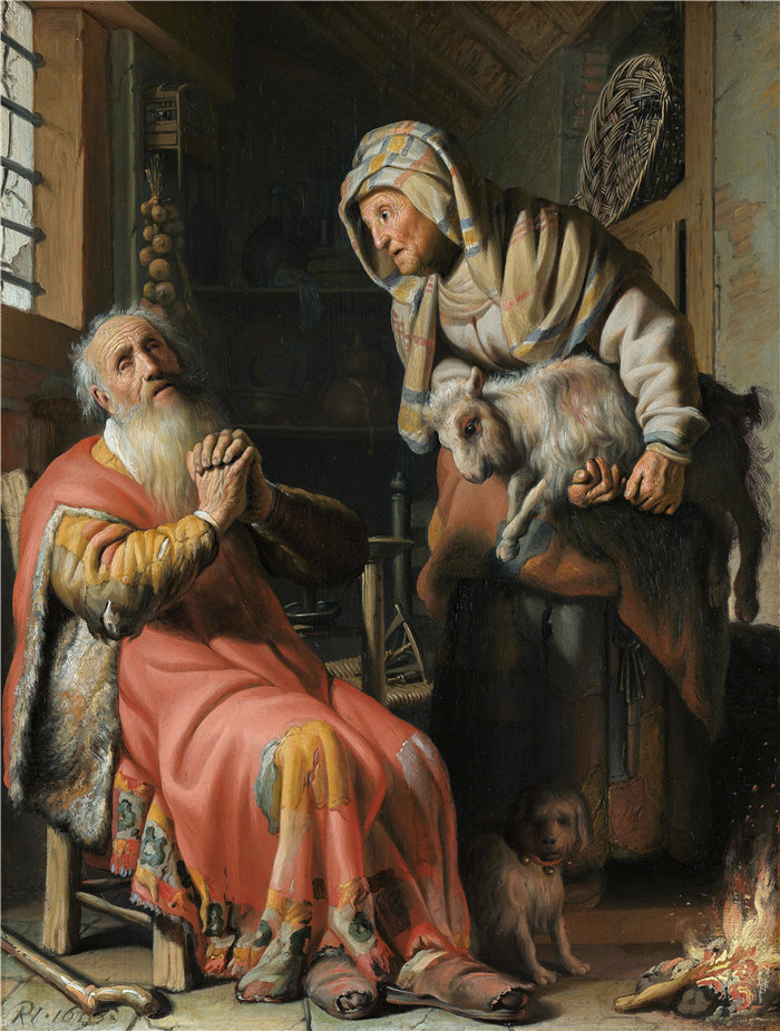 伦勃朗·范·瑞恩  (Rembrandt van Rijn,荷兰 ) 作品 - 托比特和安娜与孩子 (1626)