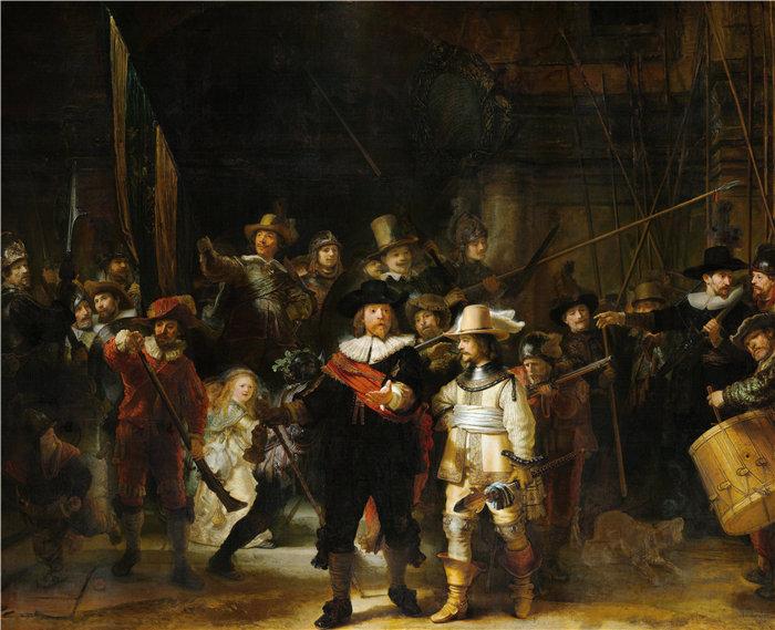 伦勃朗·范·瑞恩  (Rembrandt van Rijn,荷兰 ) 作品 - 守夜人,第二区民兵连