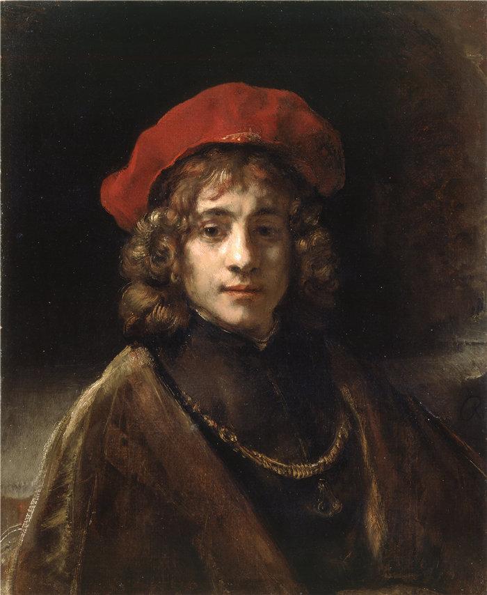 伦勃朗·范·瑞恩  (Rembrandt van Rijn,荷兰 ) 作品 - 提图斯,艺术家的儿子(约 1657 年)