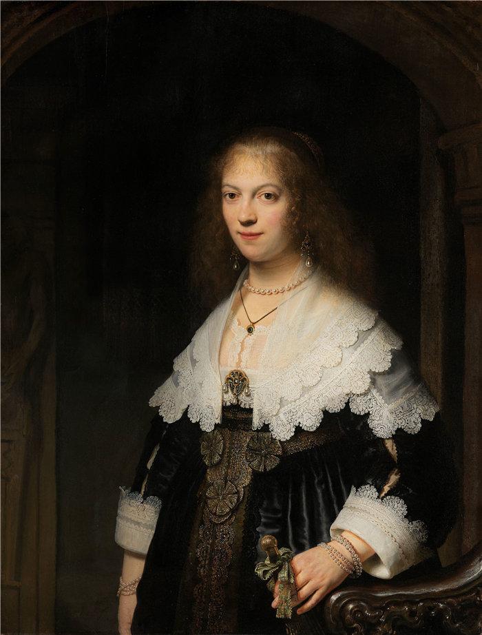 伦勃朗·范·瑞恩  (Rembrandt van Rijn,荷兰 ) 作品 - 一个女人的肖像,可能是玛丽亚之旅(1639 年)