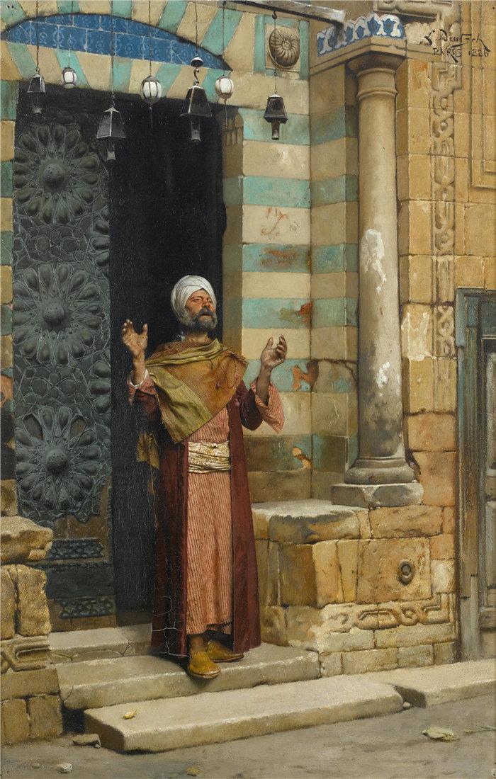 路德维希·多伊奇(Ludwig Deutsch 奥地利画家)作品 -在清真寺门口(1886)