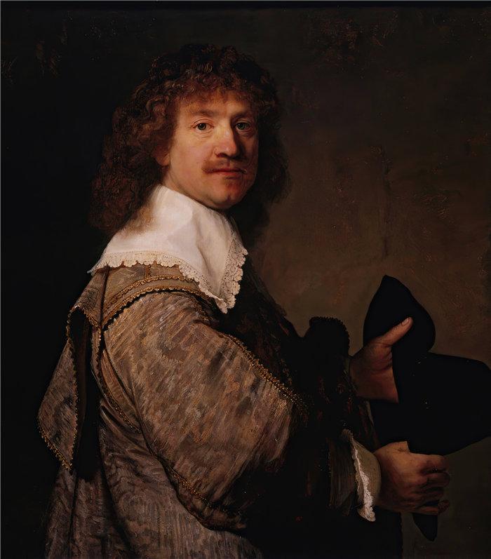 伦勃朗·范·瑞恩  (Rembrandt van Rijn,荷兰 ) 作品 - 手持黑帽男子肖像(约 1637 年)