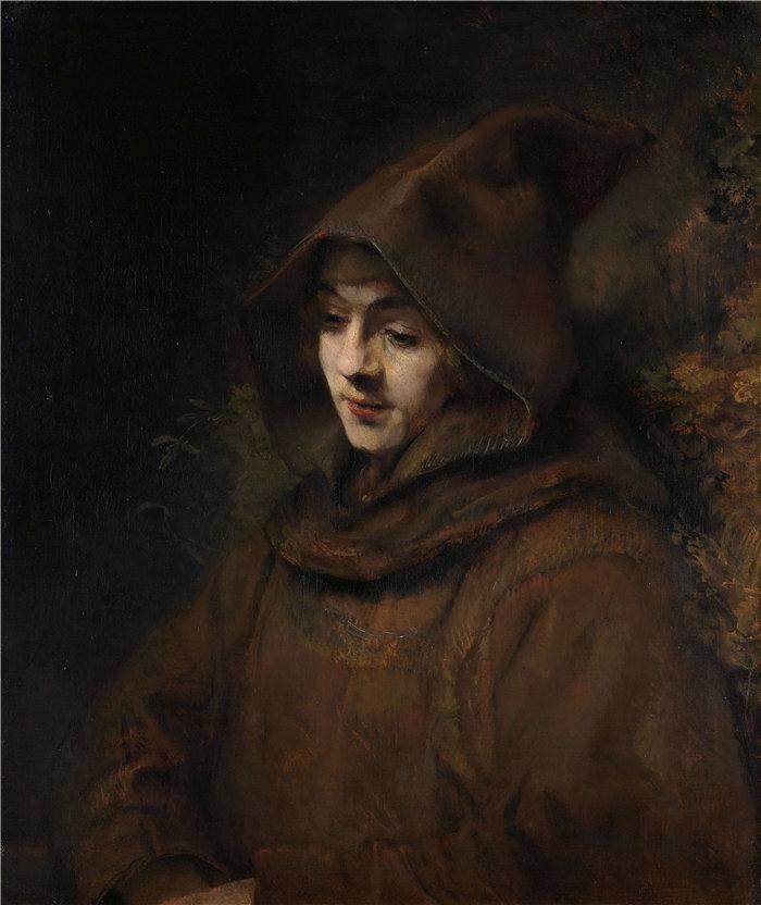伦勃朗·范·瑞恩  (Rembrandt van Rijn,荷兰 ) 作品 - 修士习惯中的提图斯 (1660)