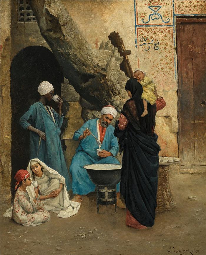 路德维希·多伊奇(Ludwig Deutsch 奥地利画家)作品 -提神饮料 (1891)