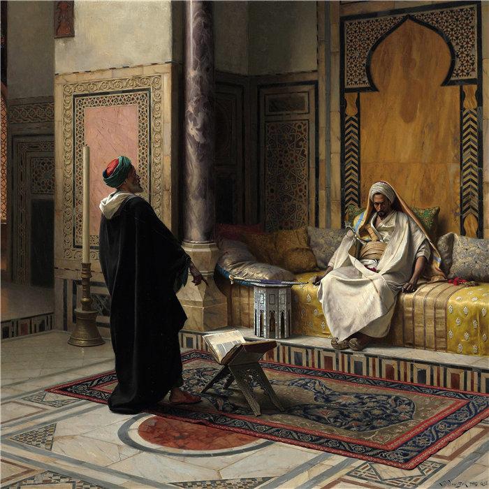 路德维希·多伊奇(Ludwig Deutsch 奥地利画家)作品 -学到的建议 (1895)