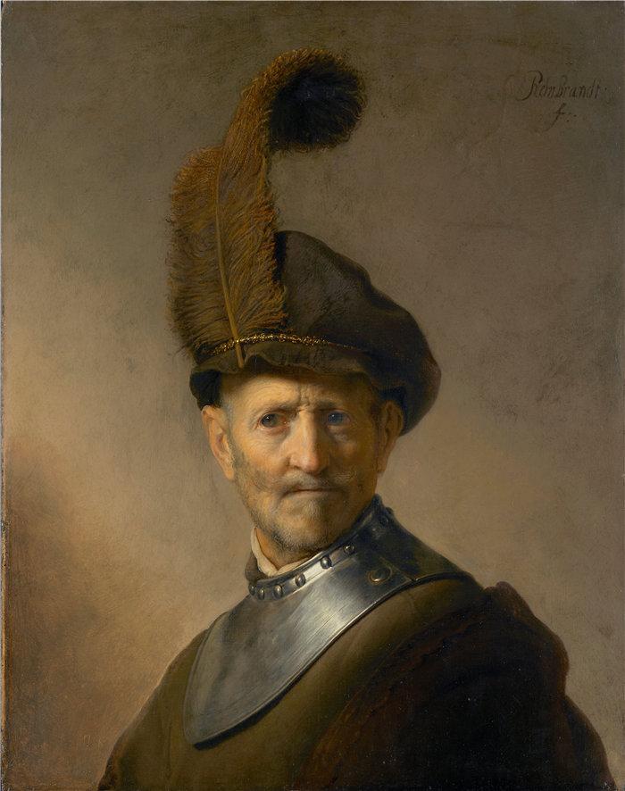伦勃朗·范·瑞恩  (Rembrandt van Rijn,荷兰 ) 作品 - 一位身着军装的老人 (1630–1631)