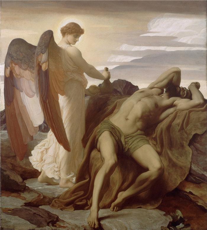 弗雷德里克·莱顿(Frederick Leighton)作品 - 以利亚在旷野 (1877 - 1878)