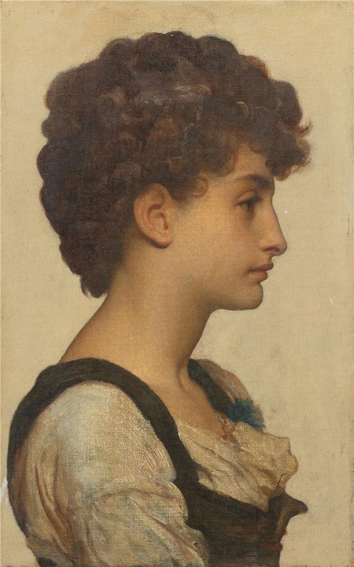 弗雷德里克·莱顿(Frederick Leighton)作品 - 一个女孩的头(1)