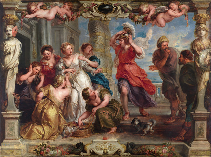 彼得·保罗·鲁本斯( Peter Paul Rubens)作品-尤利西斯在莱科墨得斯的女儿中发现阿喀琉斯 (1630-1635)