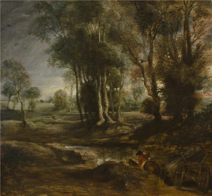 彼得·保罗·鲁本斯( Peter Paul Rubens)作品-与木材货车的晚上风景