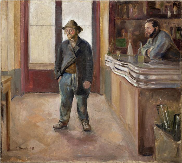爱德华·蒙克(Edvard Munch)作品 - 在酒馆 (1890)