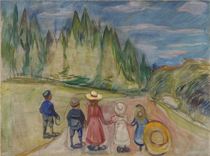 爱德华·蒙克(Edvard Munch)作品 - 童话森林 (1901)