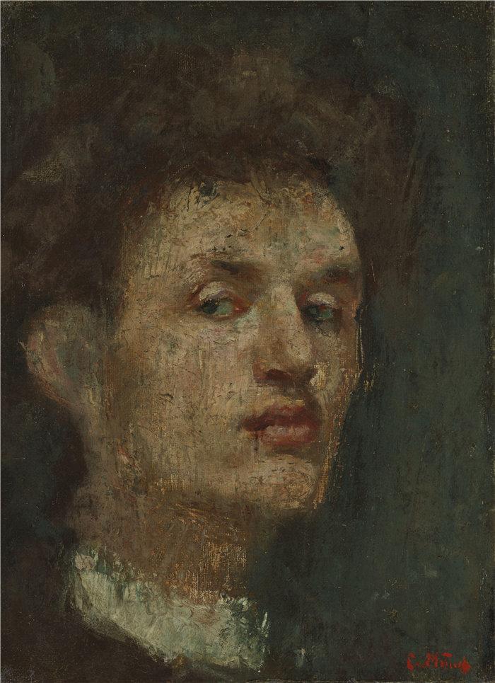 爱德华·蒙克(Edvard Munch)作品 - 自画像(1886)