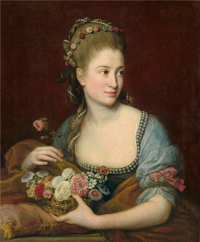 蓬佩奥·巴托尼 (Pompeo Girolamo Batoni,意大利) 作品-作为 Flora 的女士肖像(1775 年)