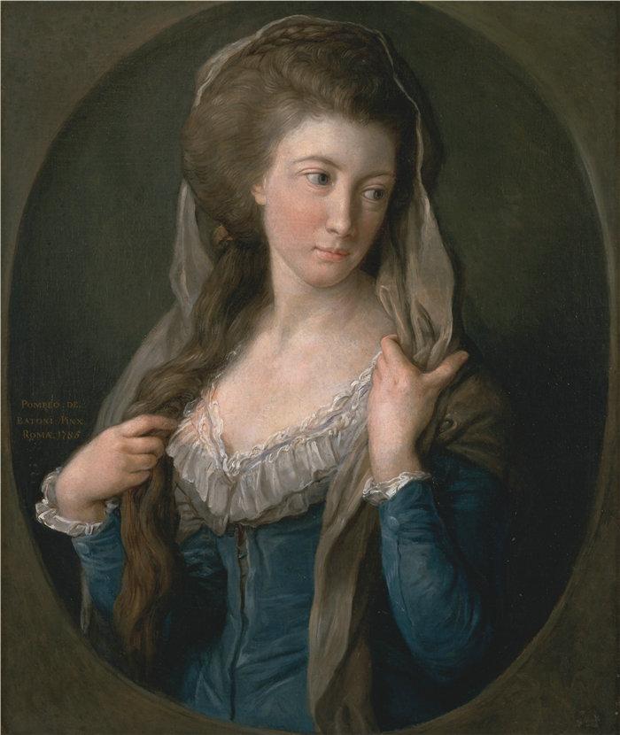 蓬佩奥·巴托尼 (Pompeo Girolamo Batoni,意大利) 作品-一个女人的肖像,传统上被认为是玛格丽特·斯图尔特,希皮斯利夫人