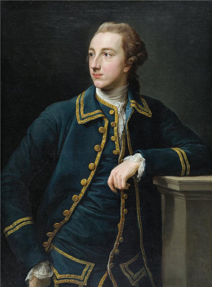 蓬佩奥·巴托尼 (Pompeo Girolamo Batoni,意大利) 作品-一个穿绿色西装的男人的肖像(1760 年代)