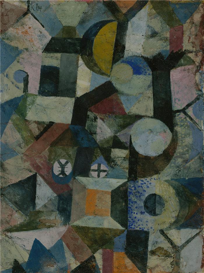 保罗・克利(Paul Klee,德国 )作品-与黄色半月和 Y 的构图(1918 年)