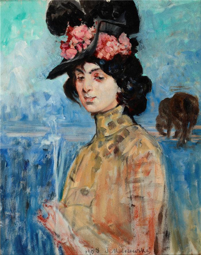 杰克·马尔切夫斯基(Jacek Malczewski,波兰画家)作品-佐菲亚·阿特斯兰德 (Zofia Atteslander) 的肖像 (1908)