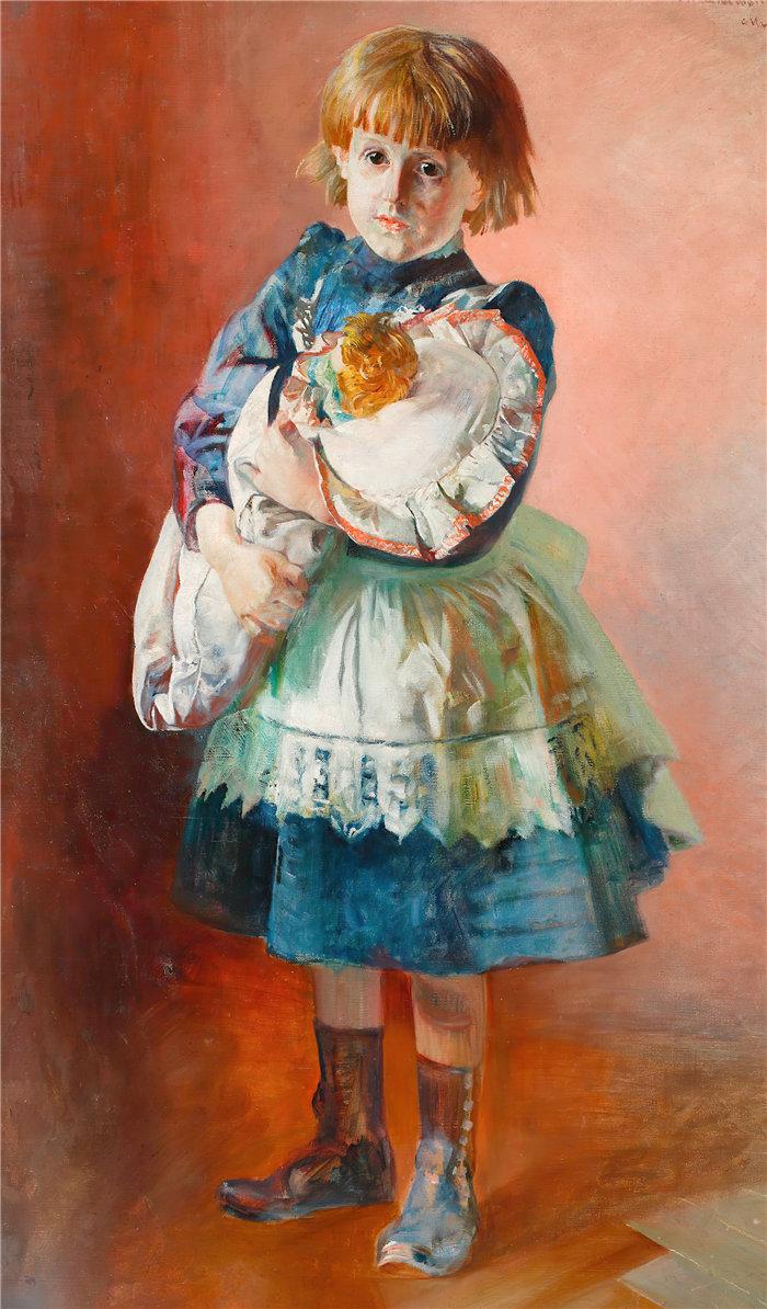 杰克·马尔切夫斯基(Jacek Malczewski,波兰画家)作品-朱莉娅,艺术家的女儿,带着玩偶的肖像(1893 年)