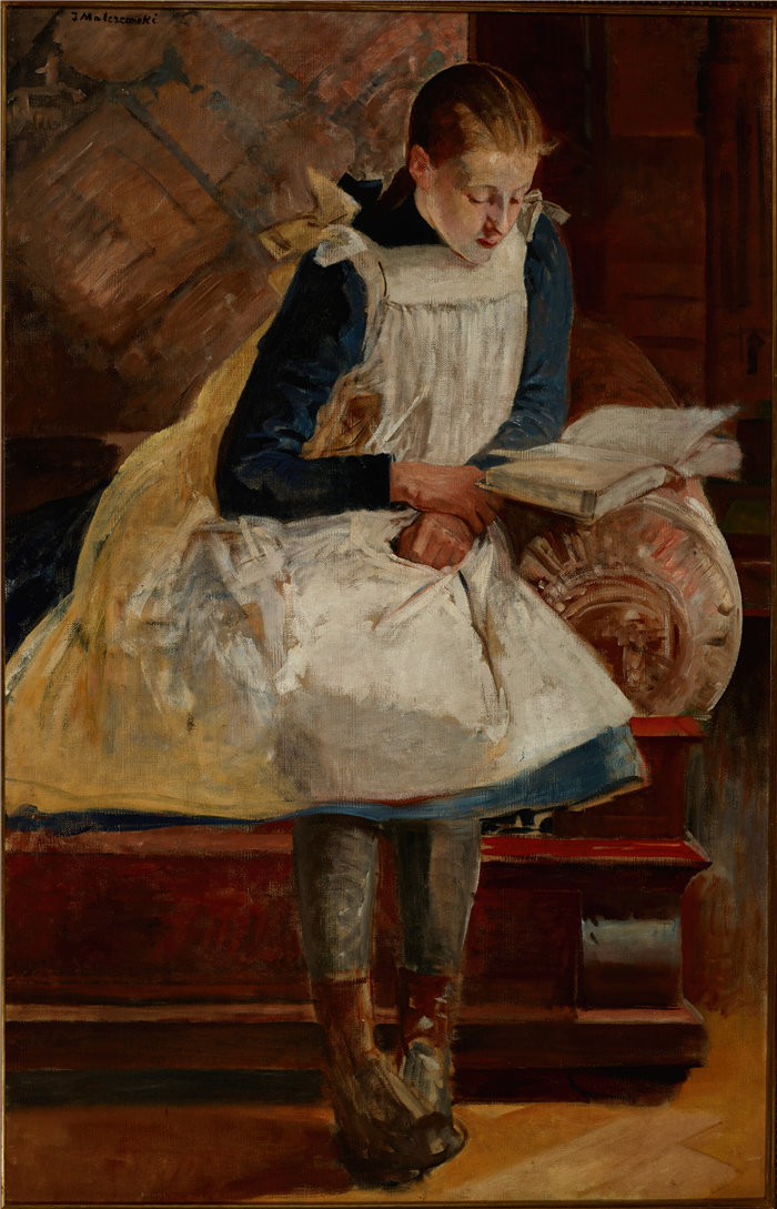 杰克·马尔切夫斯基(Jacek Malczewski,波兰画家)作品-艺术家女儿朱莉娅的肖像(约 1902 年)
