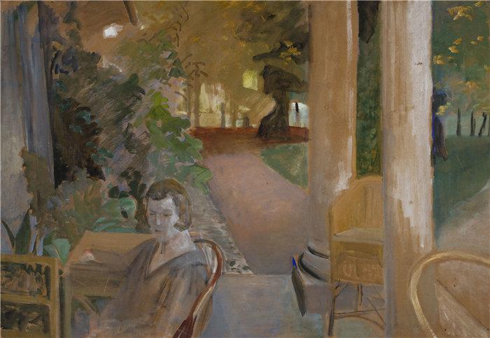 杰克·马尔切夫斯基(Jacek Malczewski,波兰画家)作品-在阳台上 (1921)