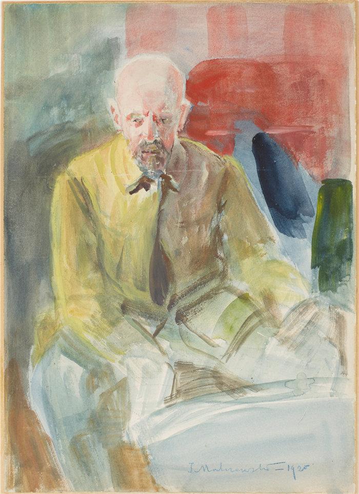 杰克·马尔切夫斯基(Jacek Malczewski,波兰画家)作品-自画像(1920)