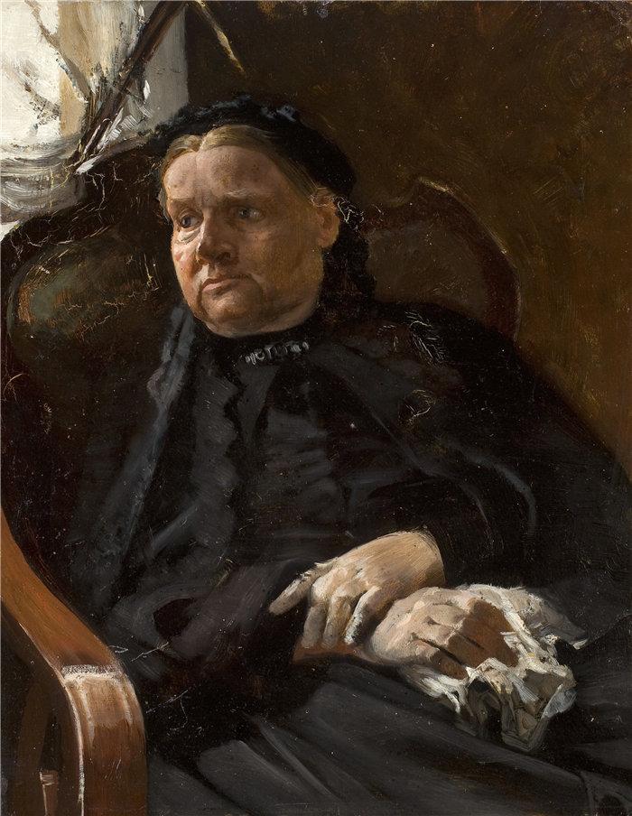 杰克·马尔切夫斯基(Jacek Malczewski,波兰画家)作品-艺术家母亲的肖像(1880 年)