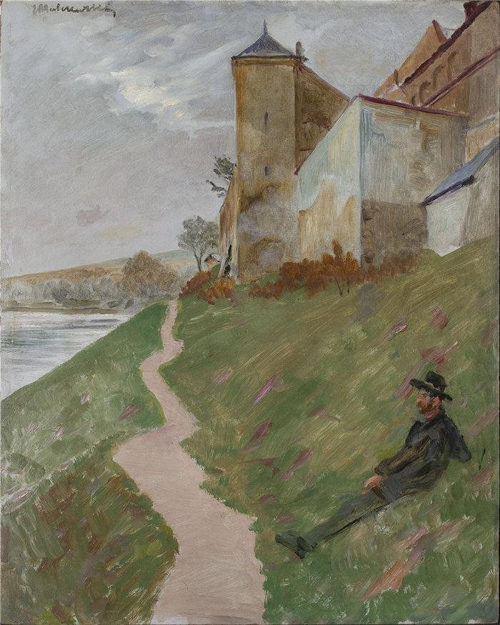 杰克·马尔切夫斯基(Jacek Malczewski,波兰画家)作品-在 Norbertines 修道院的山上(1910 年)