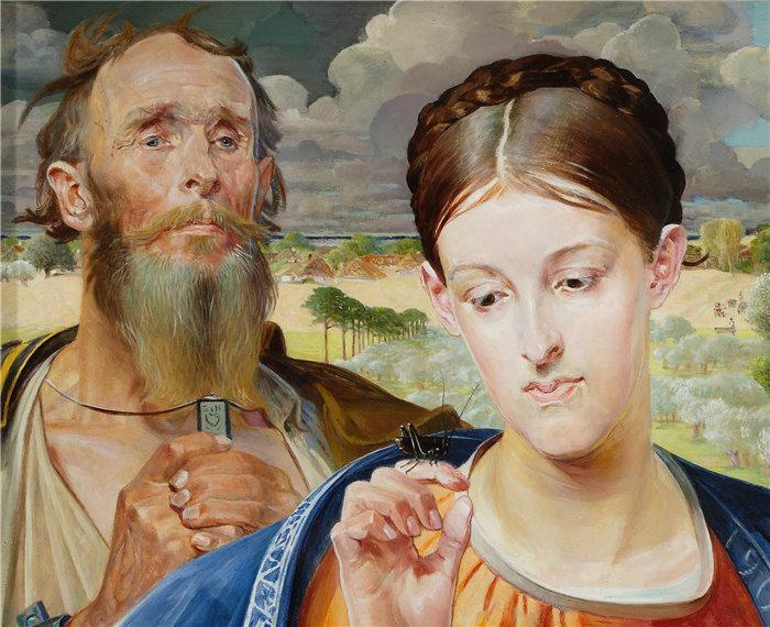 杰克·马尔切夫斯基(Jacek Malczewski,波兰画家)作品-音乐 – 三联画的左翼 (1906)