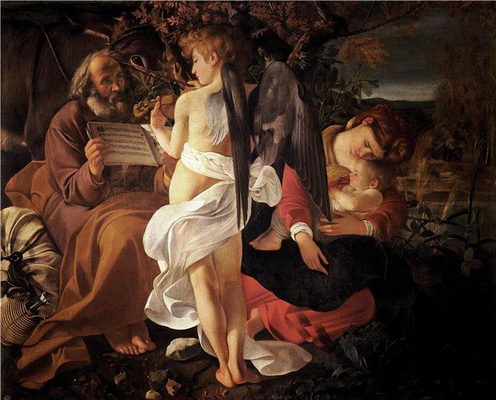 卡拉瓦乔(Caravaggio,意大利画家)-在飞往埃及的途中休息(约 1597 年)