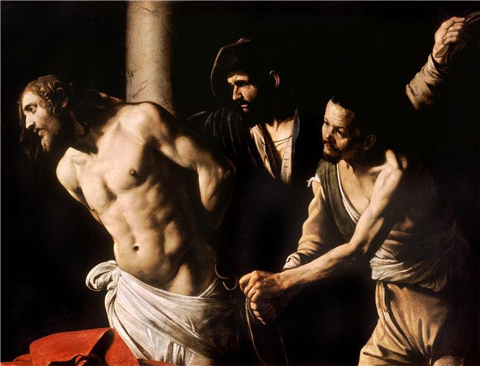 卡拉瓦乔(Caravaggio,意大利画家)-基督在柱子上(大约 1607 年)