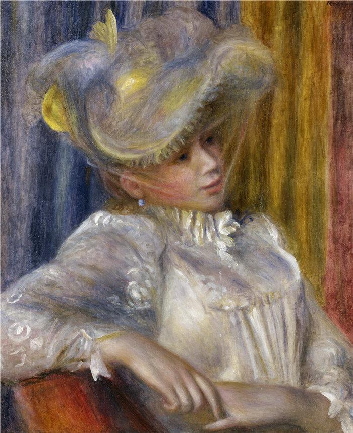皮埃尔·奥古斯特·雷诺阿(Pierre-Auguste Renoir)作品 –戴帽子的女人