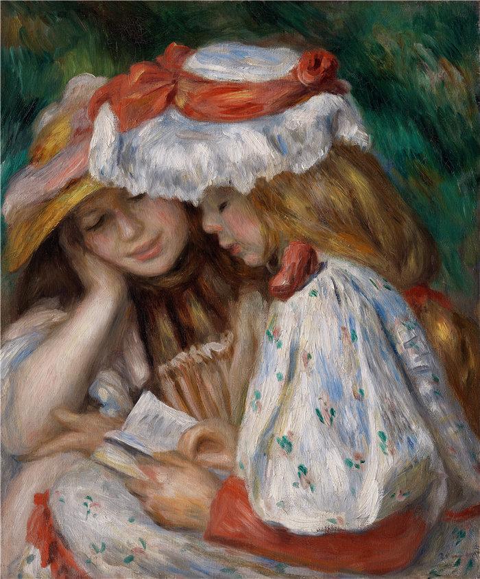 皮埃尔·奥古斯特·雷诺阿(Pierre-Auguste Renoir)作品 –两个女孩阅读(c. 1890-1891)