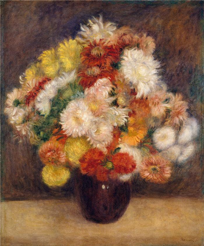皮埃尔·奥古斯特·雷诺阿(Pierre-Auguste Renoir)作品 –菊花束 (1881)