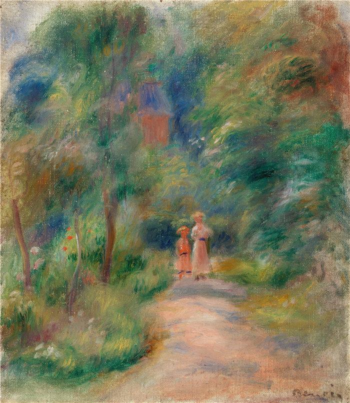 皮埃尔·奥古斯特·雷诺阿(Pierre-Auguste Renoir)作品 –路上的两个人偶(Deux figure dans un sentier)(约 1906 年)