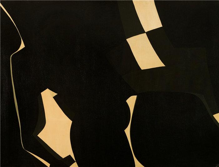 雅各布·魏德曼(Jakob Weidemann,挪威画家)作品-Svart og gul komposisjon (1957)