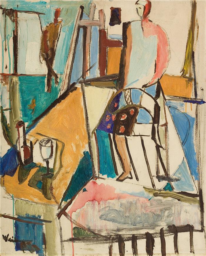 雅各布·魏德曼(Jakob Weidemann,挪威画家)作品-我的工作室 (1945)