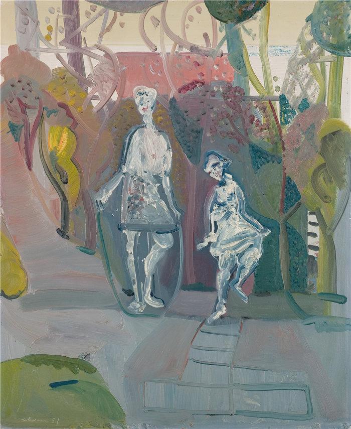 雅各布·魏德曼(Jakob Weidemann,挪威画家)作品-Paradis og hoppetau (1951)