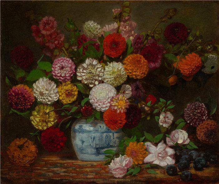 欧仁·德拉克鲁瓦(Eugene Delacroix,法国画家)作品 - 大丽花、百日草、蜀葵和李子的静物(约 1835 年)