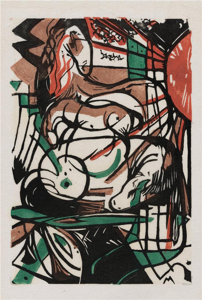 弗朗茨·马克(Franz Marc,德国画家)作品--马的诞生 (1913)