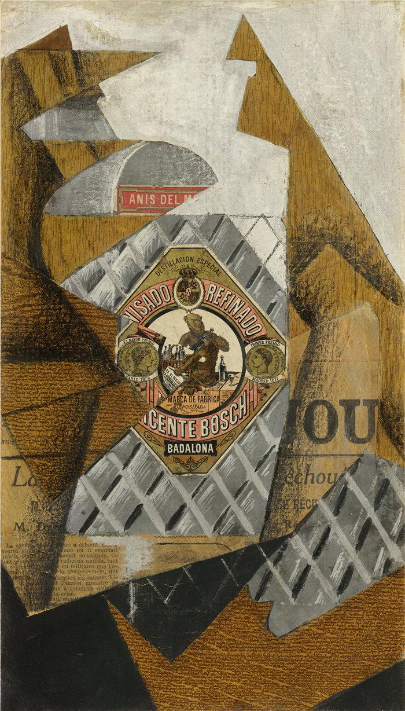 胡安·格里斯(Juan Gris,西班牙画家)作品--一瓶 Anís del Mono (1914)