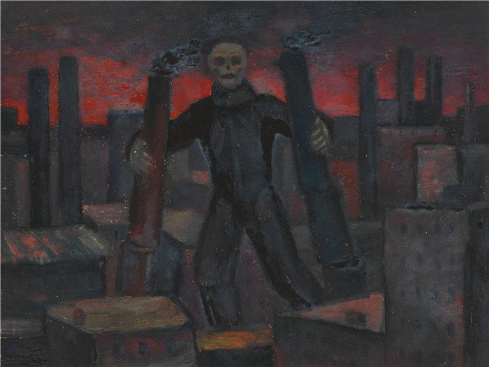 卡尔·维纳(Karl Wiener,奥地利画家 )作品-没有头衔(死亡与冒烟的城堡)(1930 年左右)